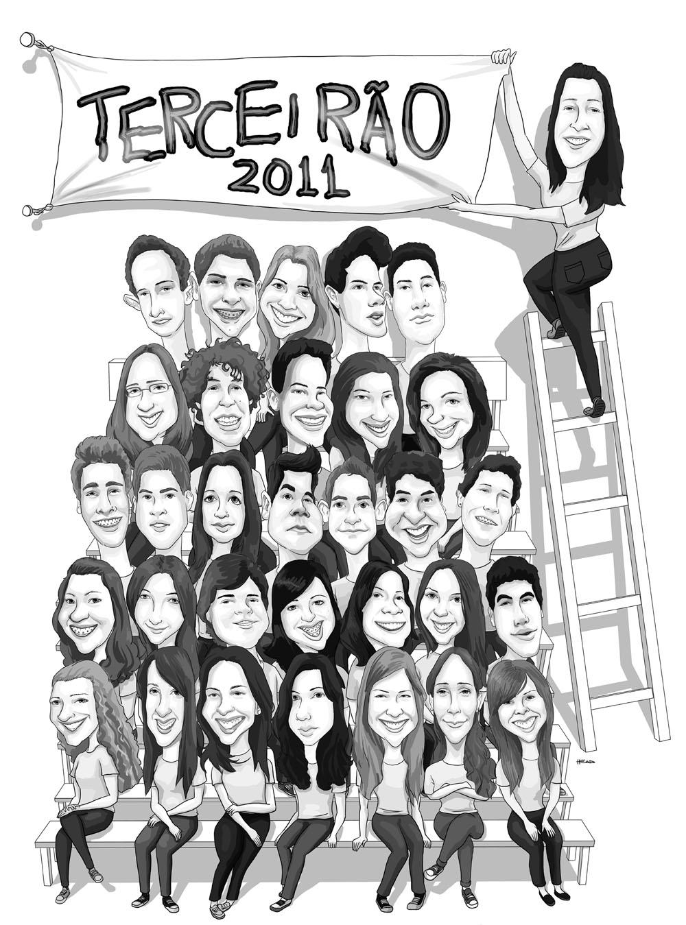 Caricatura Para Camisa De Formandos Do Terceir  O   3   A  Do Colegio