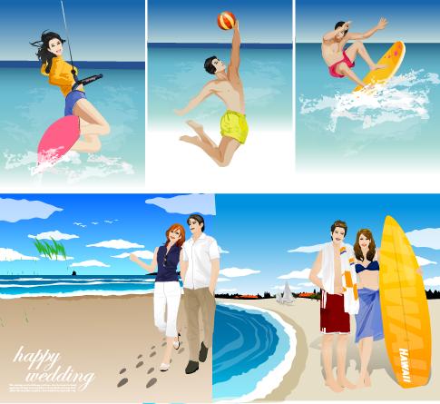 verano y playa escenas - vectores