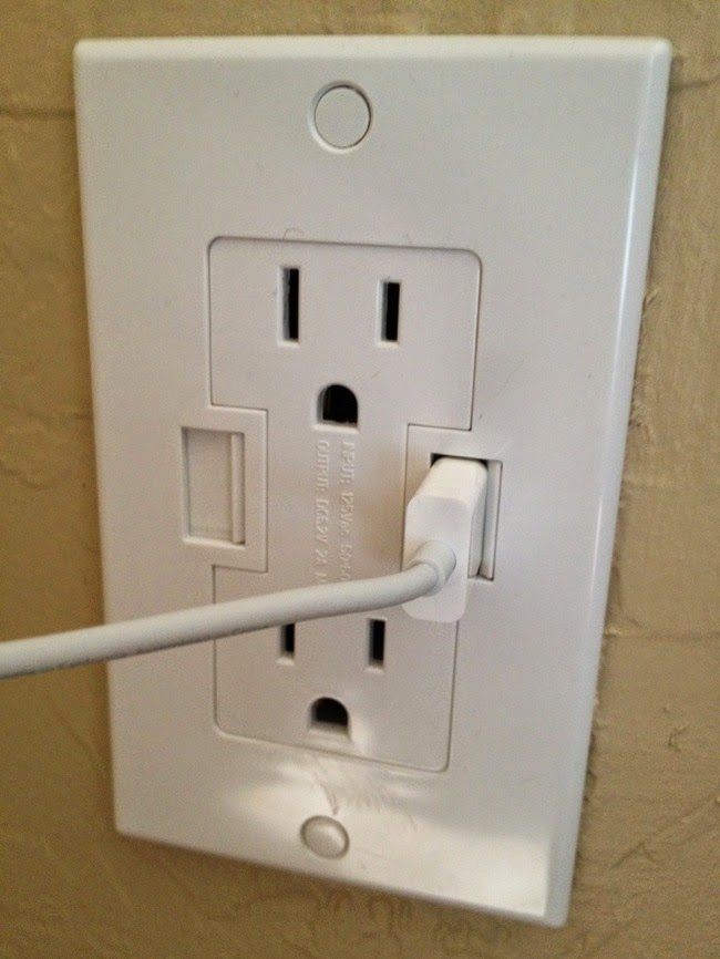 Wall outlets with USB chargers.