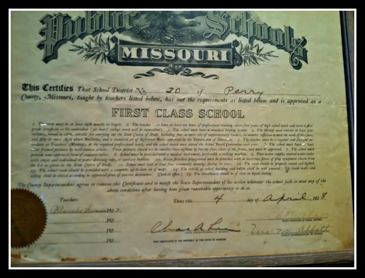 Public Schools of Missouri Certificate