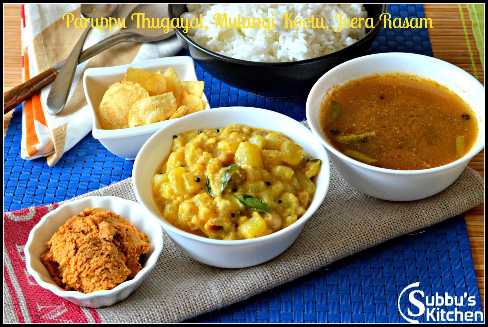 SouthIndian Lunch Menu  2 - Paruppu Thugayal, Jeera Rasam and Mullangi Rasam
