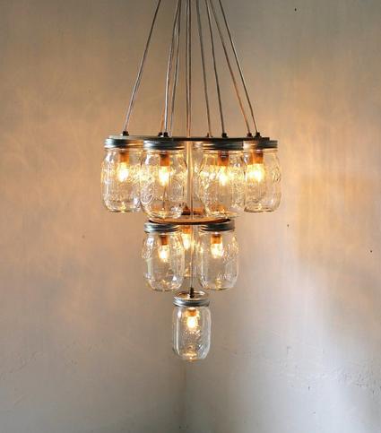 p e w t e r p u d d l e s mason jar chandeliers. Black Bedroom Furniture Sets. Home Design Ideas