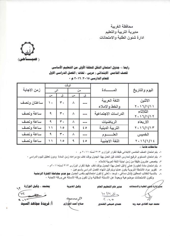 جدول إمتحانات الصف الخامس الابتدائى الفصل الدراسي الأول