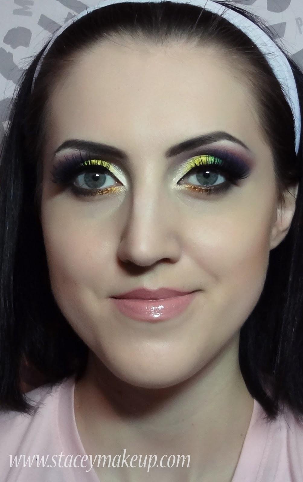 bright yellow purple green golden brown makeup