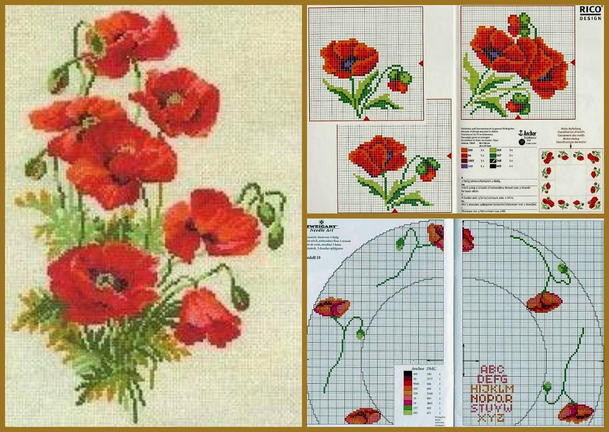 Фото схема вышивка крестом маки схемы