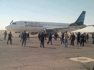 Afriqiyah A320 in new livery