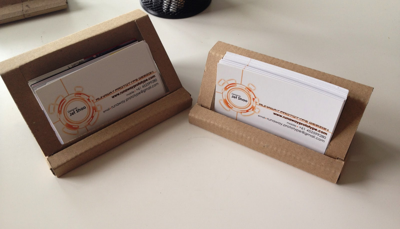Runaway prototype design cardboard business card holder reloaded developed the cardboard business card holder further these new holders are more stable simpler to assemble and come in 2 different sizes flashek Gallery