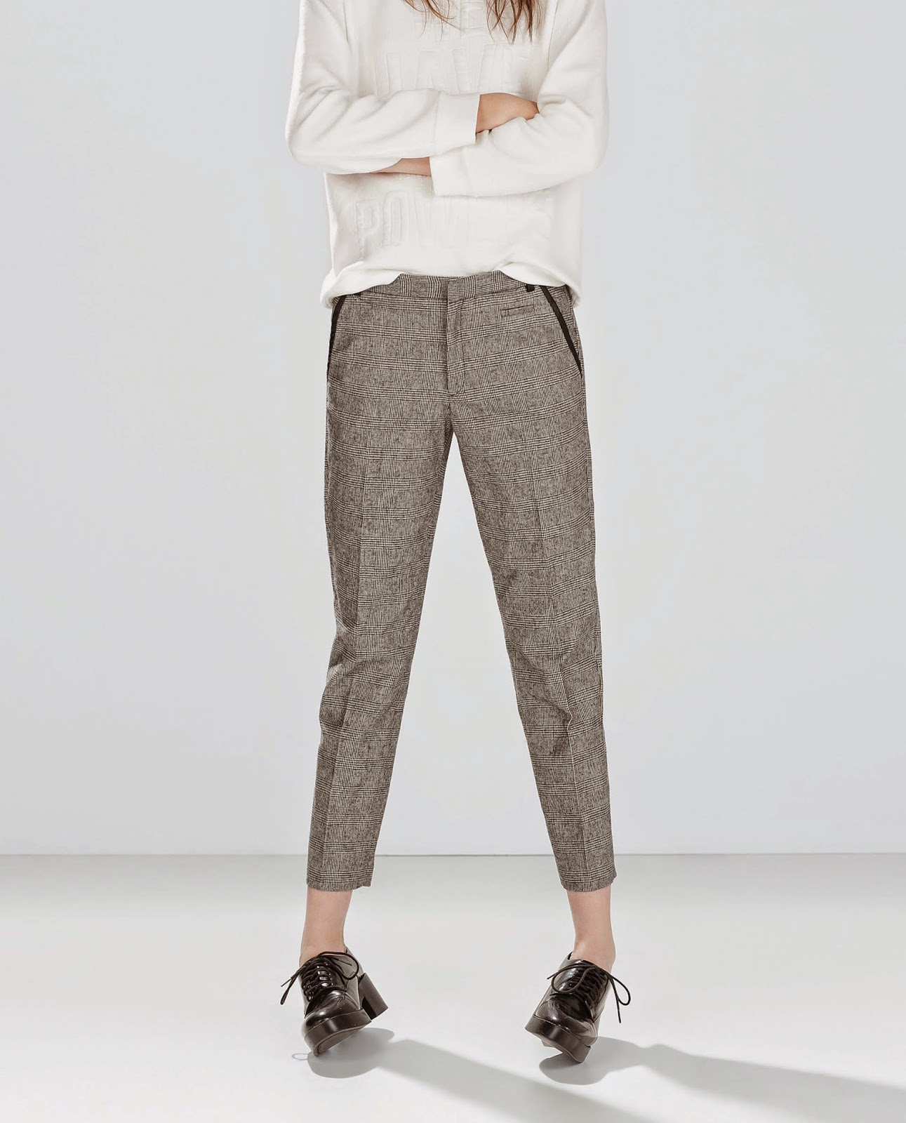 zara dogtooth trousers, trousers with leather piping,