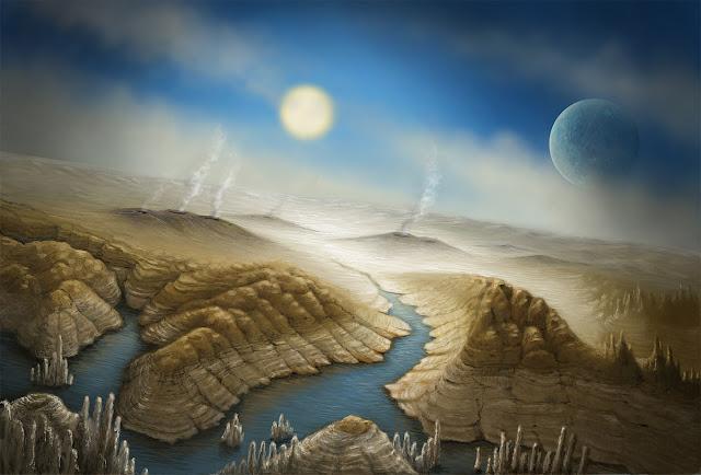 ilustração artística de Kepler-452b, planeta igual a Terra