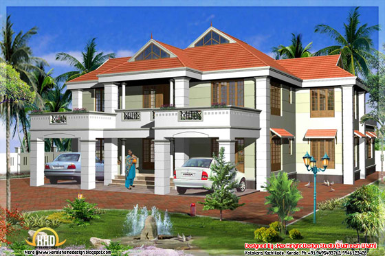 Kerala model sloped roof home design - May 2012