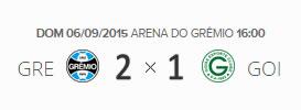 O placar de Grêmio 2x1 Goiás pela 23ª rodada do Brasileirão 2015
