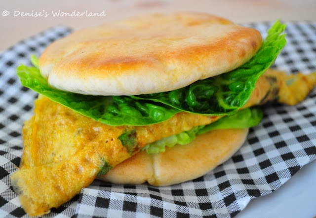 Salami & Cheese Omelet sandwich