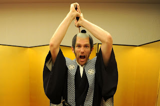 lukas podolski, samurai, arsenal, soccer player, sword, facial expression