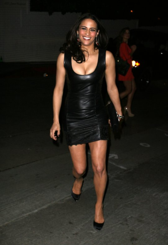 Paula Patton Hot In A Skintight Black Leather Minidress4