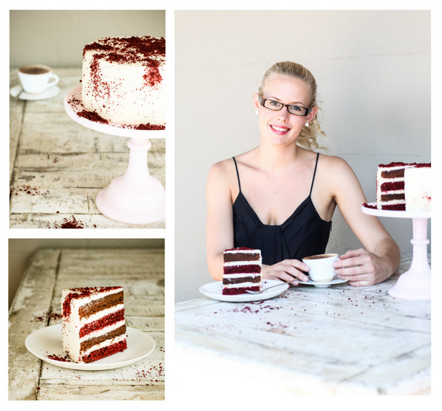 Layered Red Velvet, Coffee and Chocolate Cake recipe