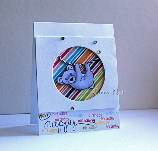 Birthday Card with Koala by Chitra Nair for Newton's Nook Designs | Simply Sentimental Stamp Set