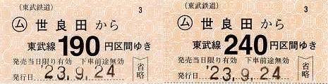 東武鉄道 常備軟券乗車券1 伊勢崎線 世良田駅