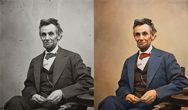 abe, abraham lincold, black and white to color, colorize