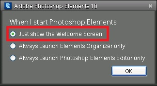 At times, many folks don't want to use Welcome Screen as they consider it a advertising media. Although reason is not completely right, as many times useful information about updates is also shared with users of Adobe Photoshop Elements. But if you are one of the user who has decided not to use Welcome Screen, due to this or other reason, check out the quick way of avoiding Welcome Screen and Launching your top use part of Adobe Photoshop Elements. Let's see Step by Step guidelines for avoiding Welcome Screen in Adobe Photoshop Elements.One simple workflow provided by Adobe is to set default application to be launched every time when you Double click Adobe Photoshop Elements icon. Let's see exact steps and then discuss another way of avoiding Welcome Screen Completely.1. Launch Welcome Screen (probably last time)2. Click on 'Settings' link on top right part of Welcome Screen in Adobe Photoshop Elements 4. Following dialog/window will be shown with three options and you can opt one of them. Options are quite explanatory as you can see here -a. Just Show the Welcome Screenb. Always Launch Elements Organizer Onlyc. Always Launch Elements Editor Only5. If you select any of the last two options, only that application will be launched on double clicking PSE icon on your desktop or Start-Menu of Windows. And in case you want to other applications, it possible form within your default application. E.g. - If you select to launch Editor always, you can launch Organizer & Welcome Screen from Editor. Home button launches Welcome Screen and there is another icon for Organizer as well.As you may noticed that it has a limitation that you can only opt for launching one application always. So if you select to launch Editor always, and want to use Organizer during one of the session, you first need to launch Editor and then Organizer can be launched from Editor. Means launching of non-Default application will always have one extra step.Other trick to avoid Welcome Screen in Adobe Pho