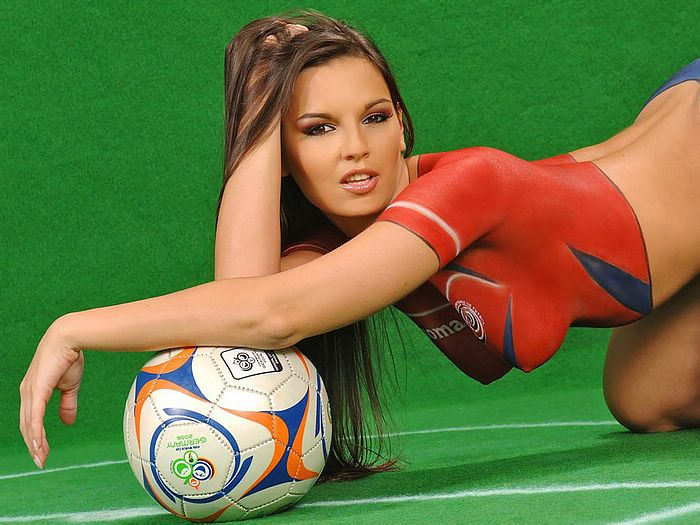 Sexy football body painting model