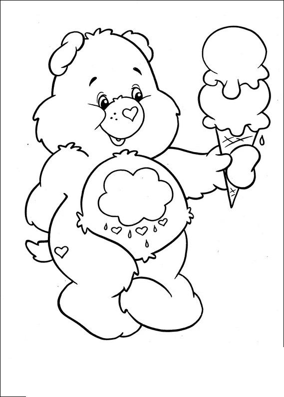 Care bears with ice cream for Care bears coloring pages