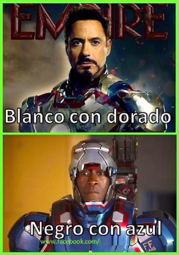Iron man blanco con dorado y negro con azul