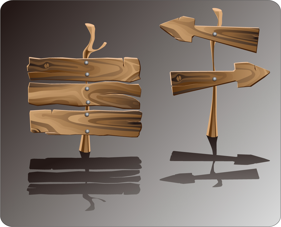 木目の美しい案内板 Beautifully realistic wood signs イラスト素材1