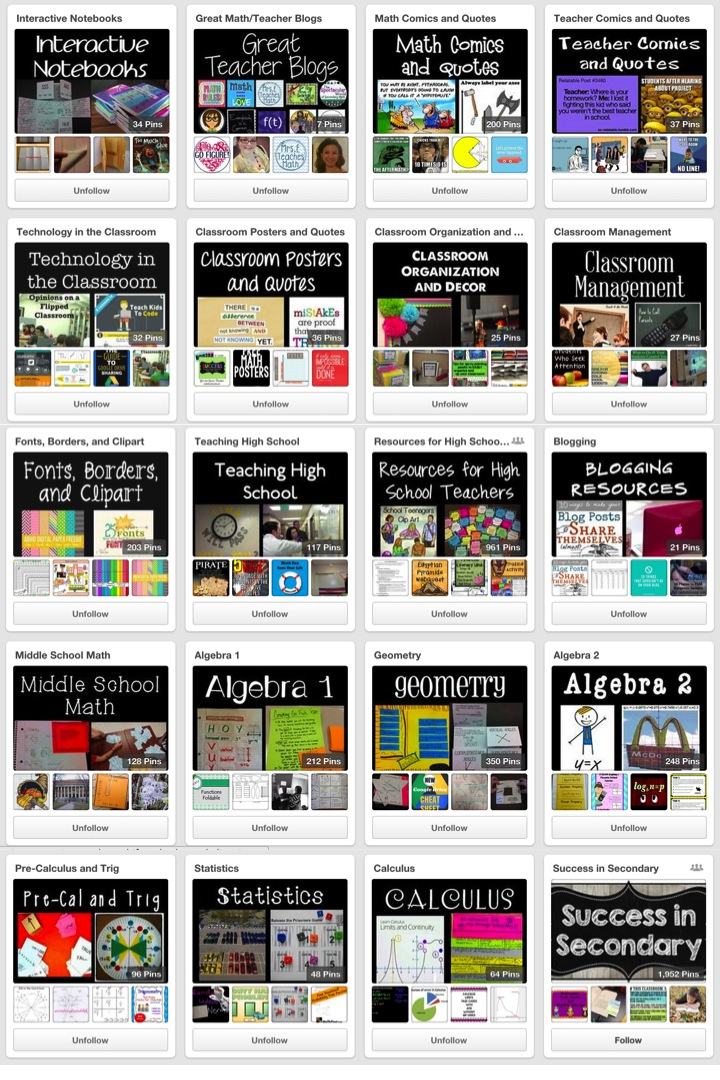 Mrs. E Teaches Math - Pinterest Boards