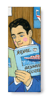 illustration on wood: man reading a travel catalogue