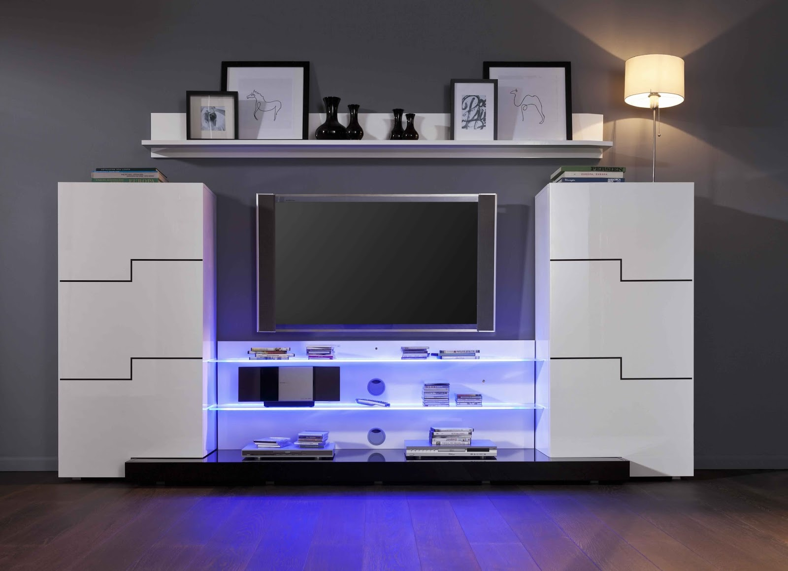 Meuble Tv Design Led Suspendu Fenrez Com Sammlung Von Design  # Meuble Tv Blanc Laque A Suspendre