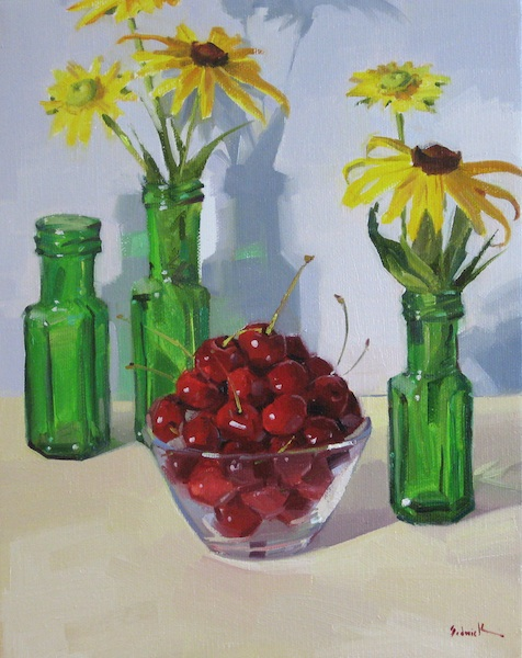 Sedwick Studio Bowl Of Cherries With Green Glass Vases Still Life