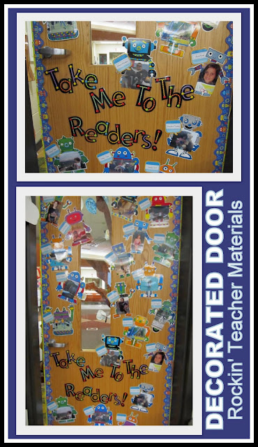 photo of: Decorated Classroom Door with Robot Theme (Rockin' Teaching Materials via RainbowsWithinReach)