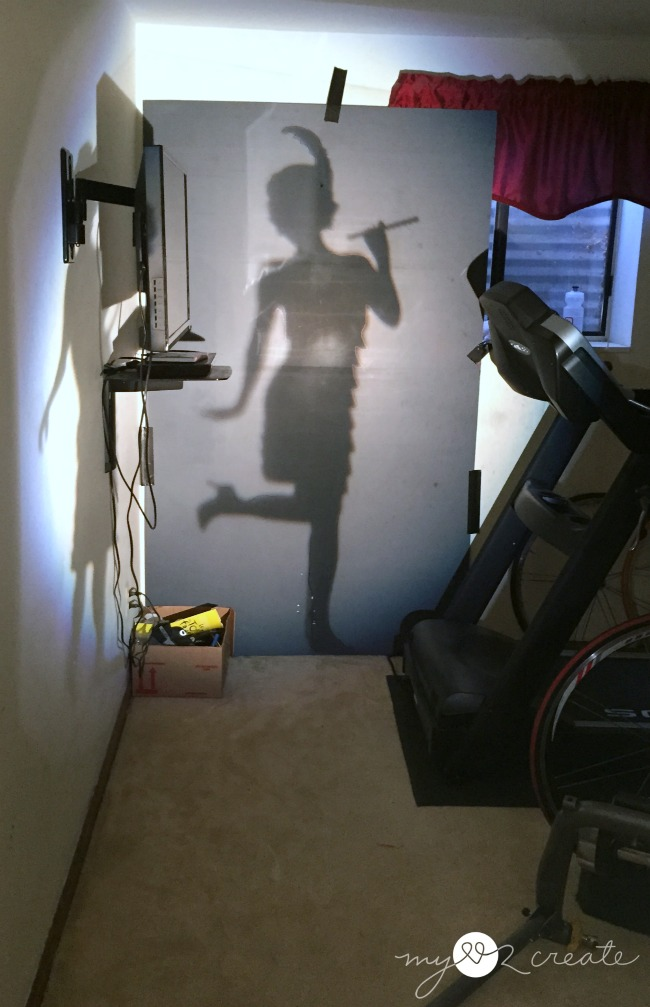 using a projector to make a life sized cut out of a flapper girl