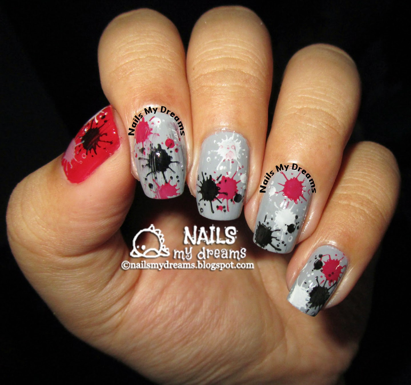 splatter nail art via stamping 3