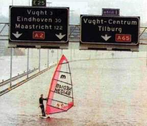 funny picture man at the sailing during flood