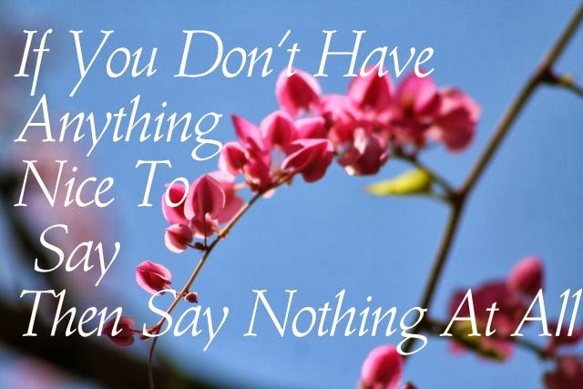 Image of flowers with saying...don't say anything if you have nothing nice to say