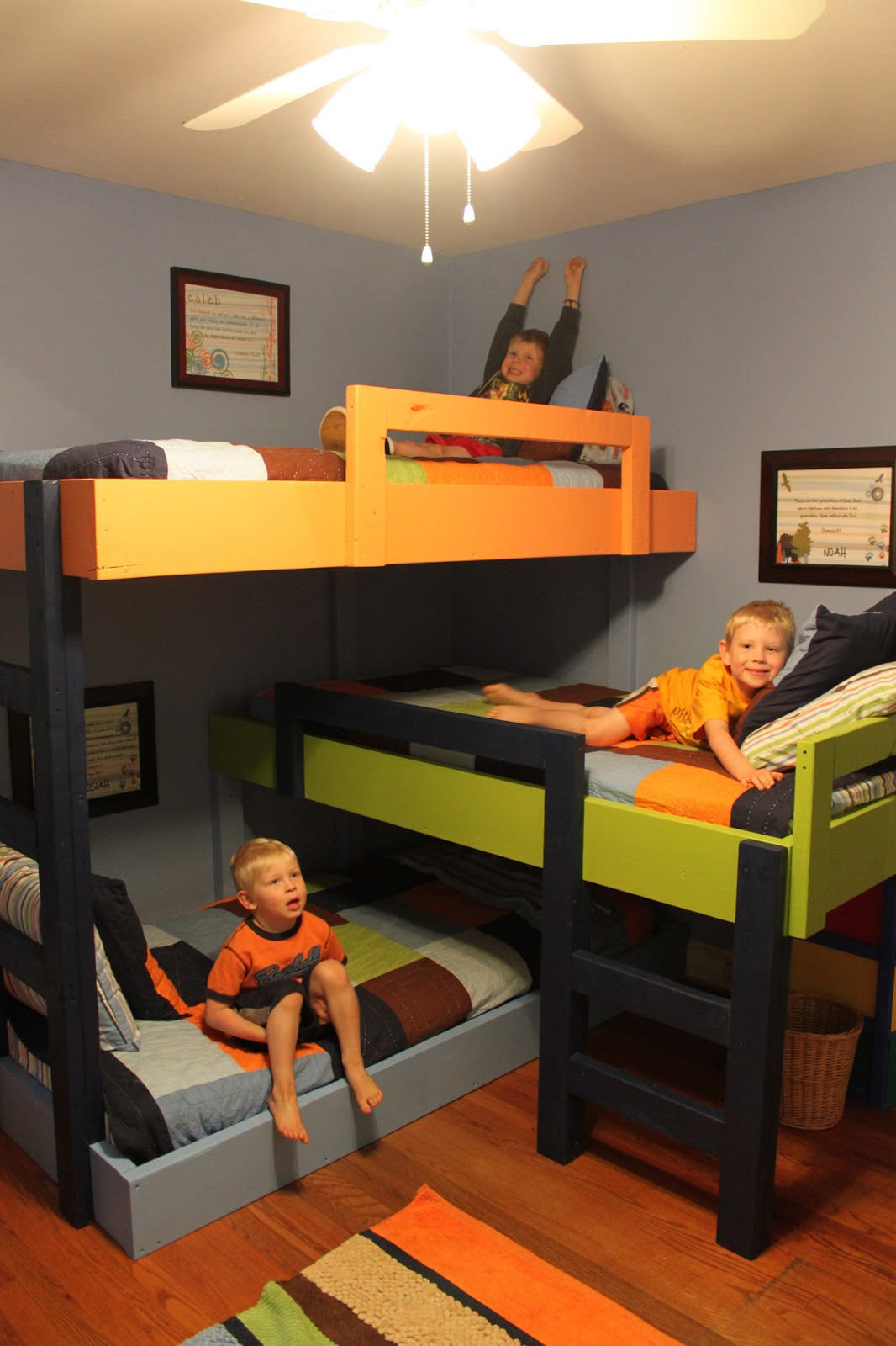 Little things triple bunk beds and hardwood floors Bunk bed boys room