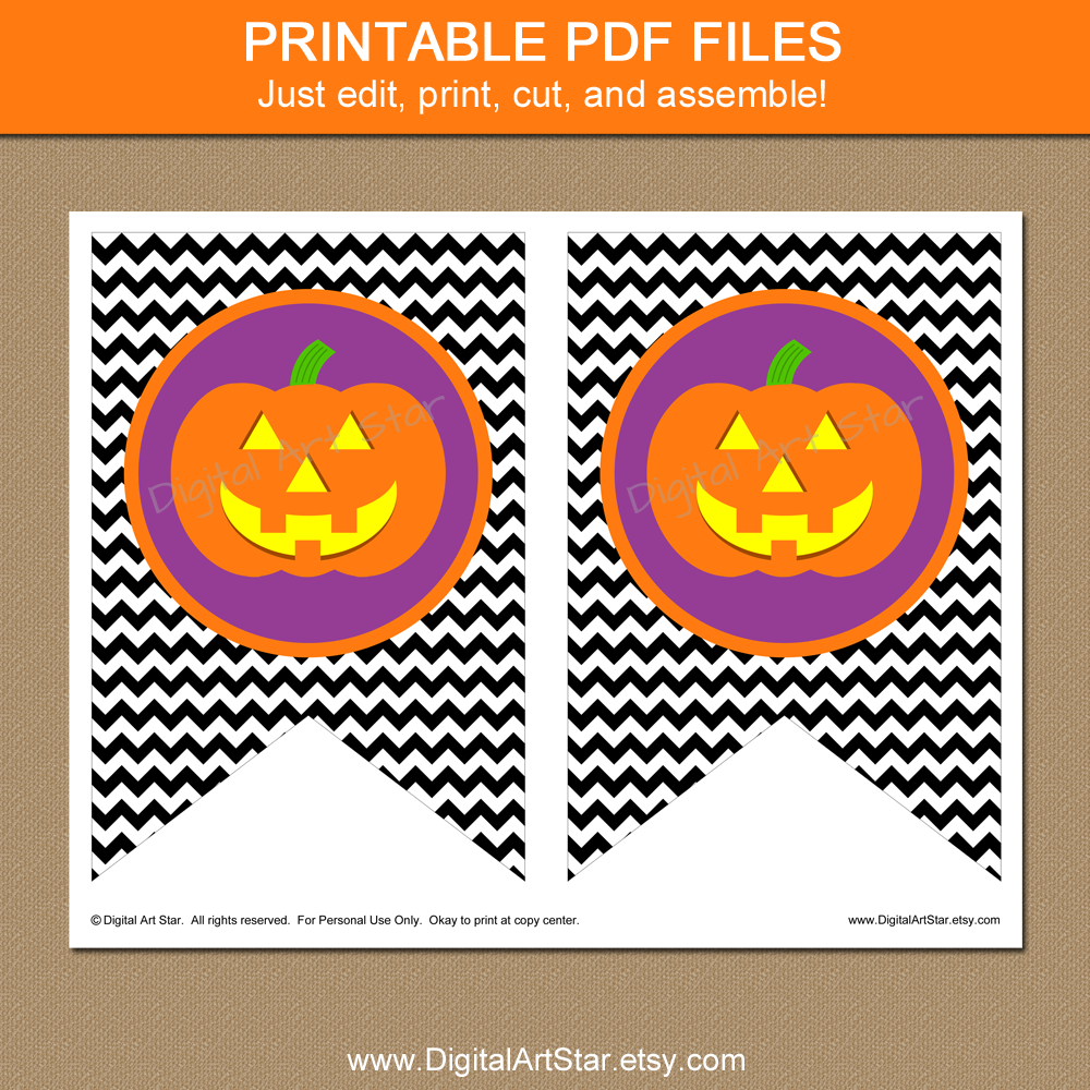 halloween printable pumpkin chevron banner