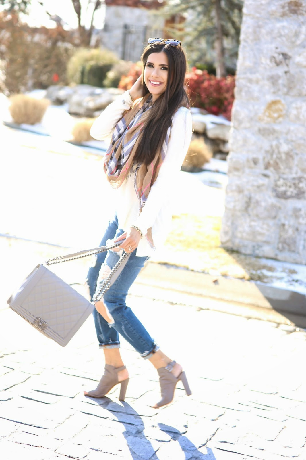 burberry inspired scarf, karen walker super duper, distressed boyfriend jeans, spring fashion 2015, spring outfit ideas 2015, pinterest spring outfits, chanel boy bag grey, emily gemma, the sweetest thing, vince camuto booties, burberry scarf, david yurman ring