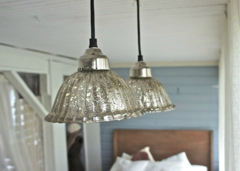 mercury glass coastal pendant lighting