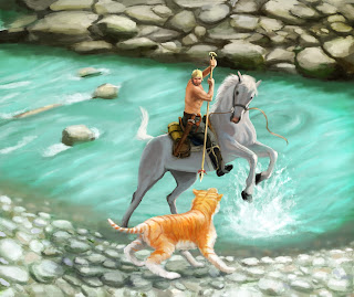 man horse tiger river attack illustration