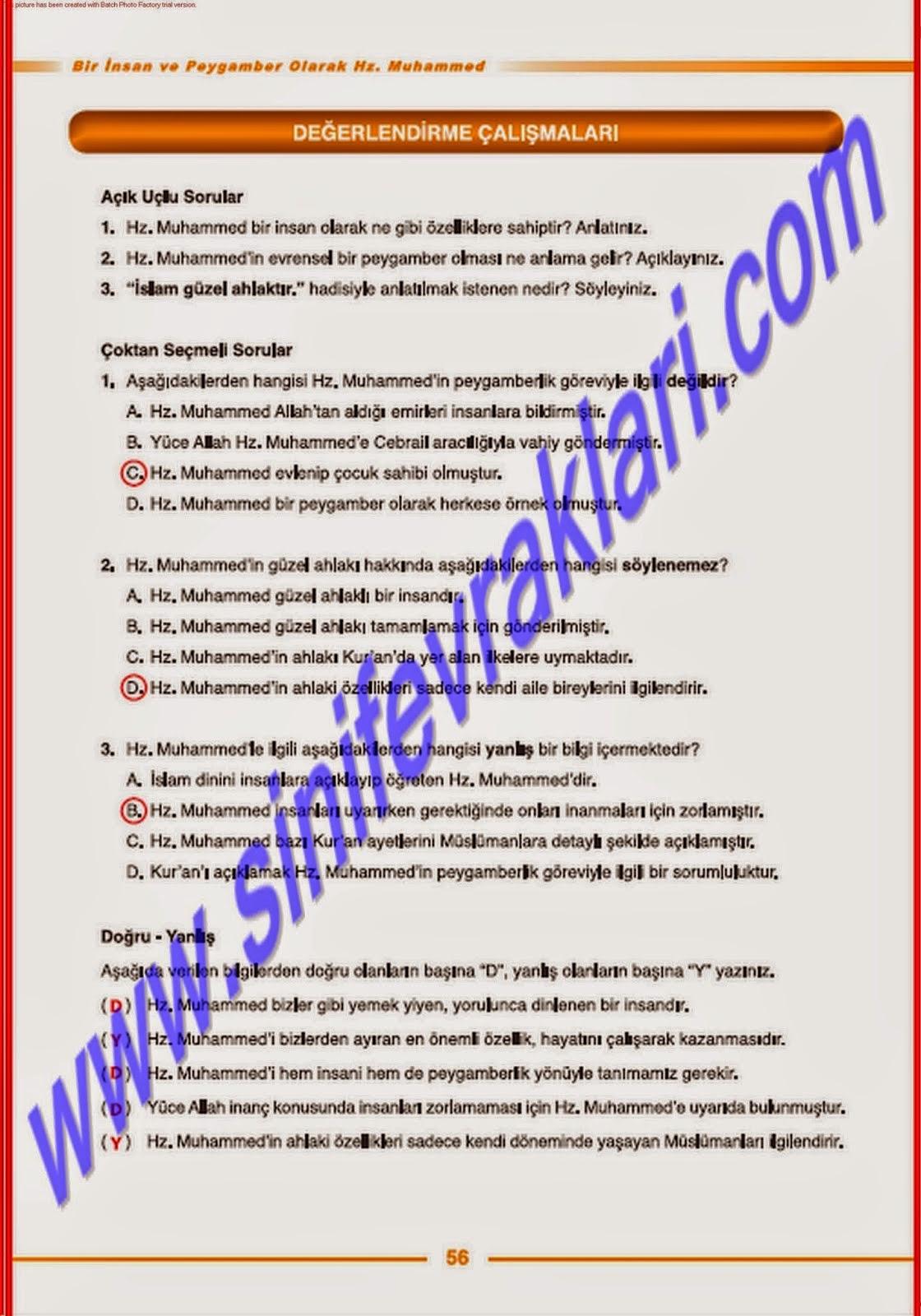 7sınıf Tutku Yayınları Din Kültürü Ders Kitabı 56sayfa Cevapları