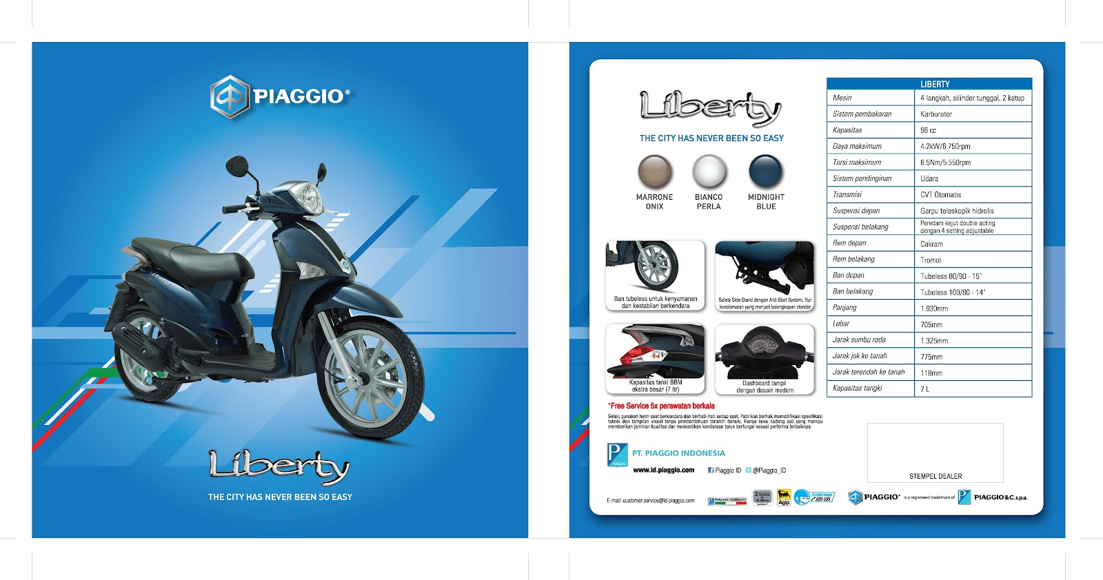 Piaggio Liberty 100s Rst Vespa Motor Scooter Dealer Ban Zip Depan Dimensi