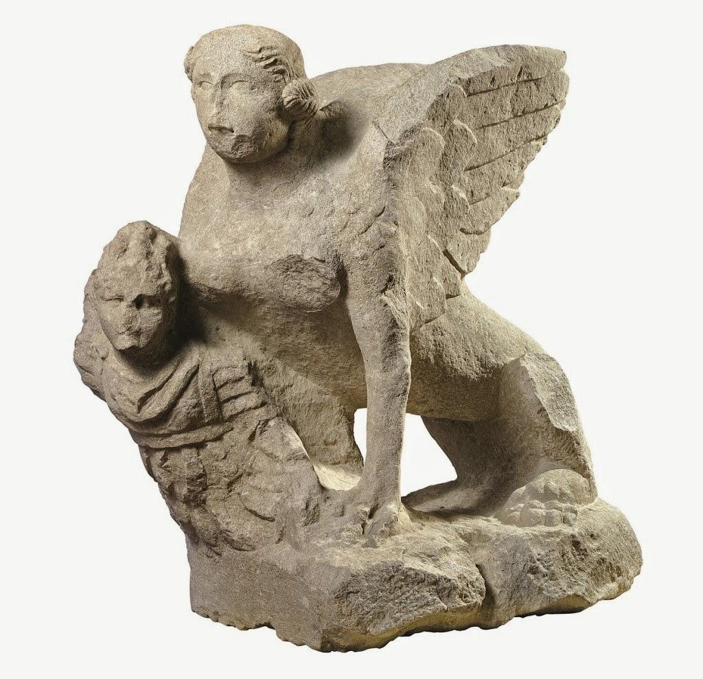 Esfinge apresando a un guerrero. Segunda mitad del sigloI dC Museo Civico Archeologico di-Bologna