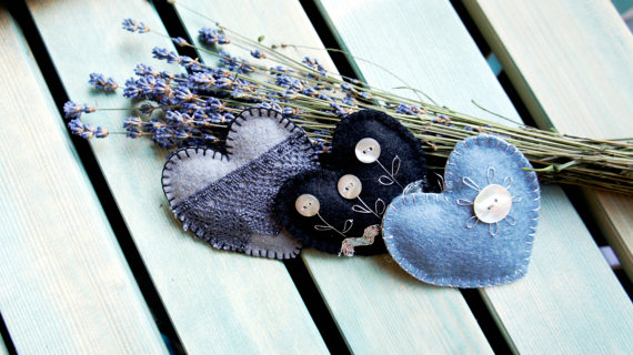 Felt heart ornaments with button flowers and lace set of 3 black grey silver Wedding Valentine's day Christmas ornament Birthday home decor
