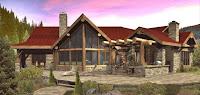 modelo de casa rustica de madera y piedras un piso