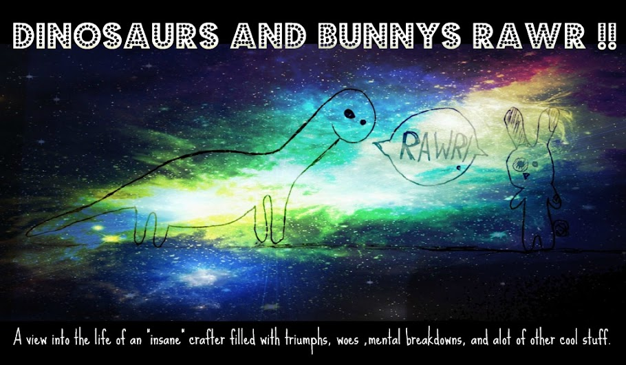 dinosaurs and bunnys rawr !!