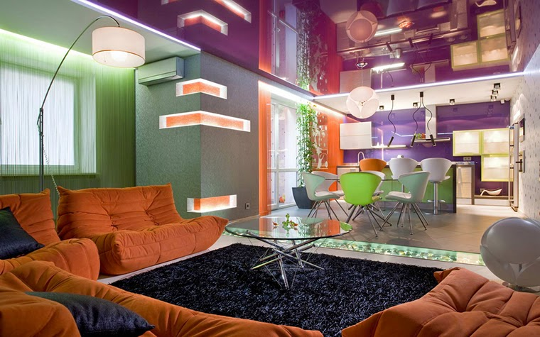 Modern living room design with purple stretch ceiling for Modern orange living room design