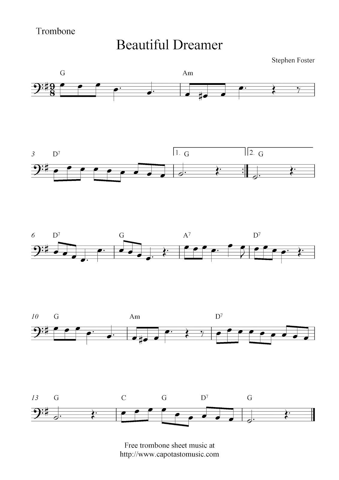 Free trombone sheet music beautiful dreamer