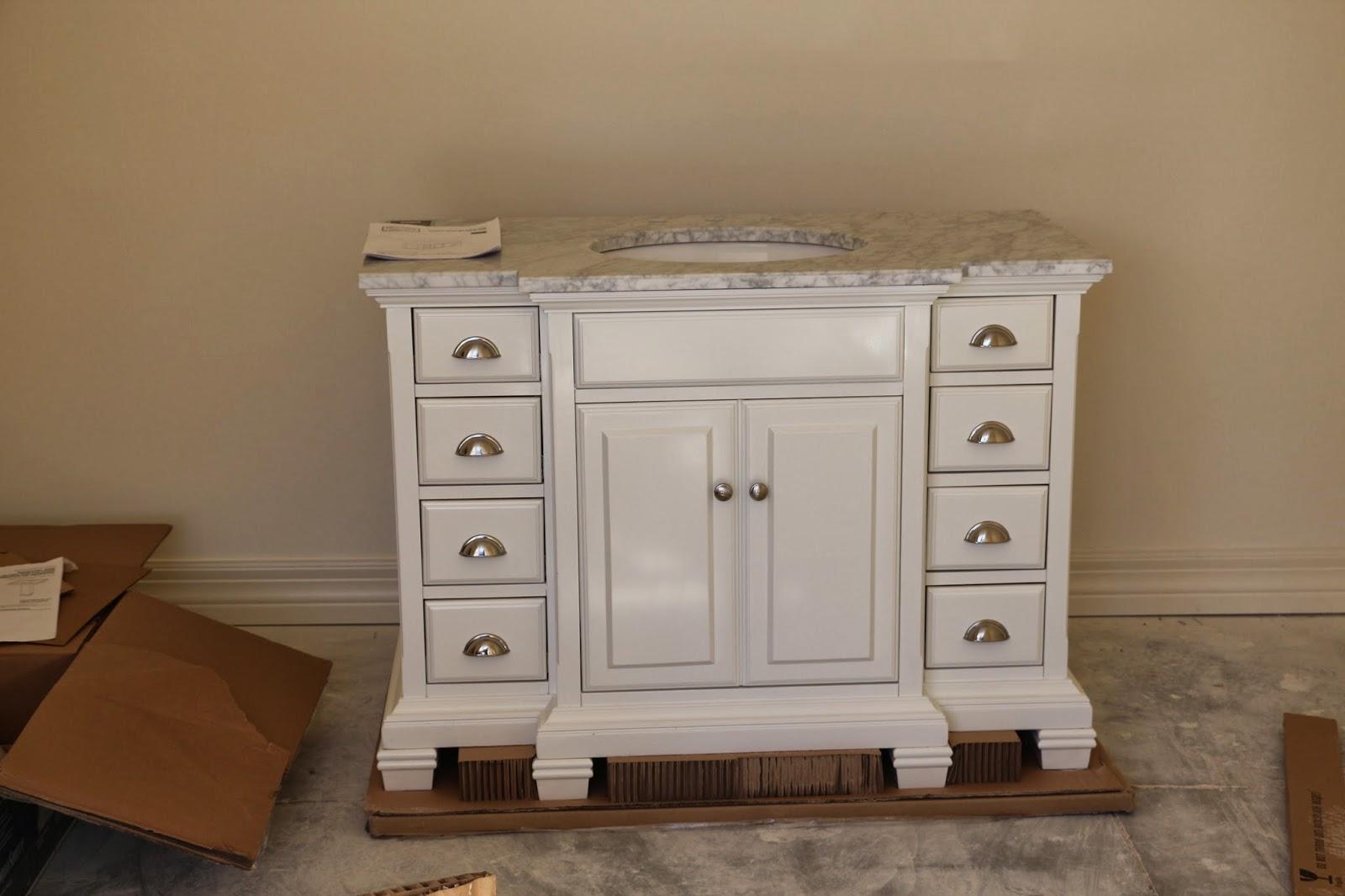 Allen + Roth Vanover vanity, white and marble vanity
